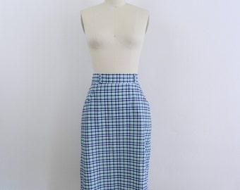1980s High Waisted Skirt ....  Vintage 80s Plaid Midi Skirt ... Size Small to Medium