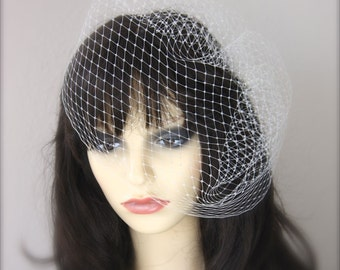 Full Birdcage Veil, Vintage Style, 12 inch Veil, 28 inch wide French Net, Russian, white, black, ivory birdcage veil, ivory birdcage veil