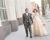 Two Piece Wedding Dress with Lace Bodice and Removable Tulle Skirt