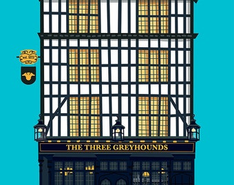 London Pub Poster - The Three Greyhounds - Soho, London, Art Print Gift