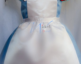 Alice in Wonderland Apron Pinafore Halloween Costume in plain White Satin for Girls Alice in Wonderland Dress.