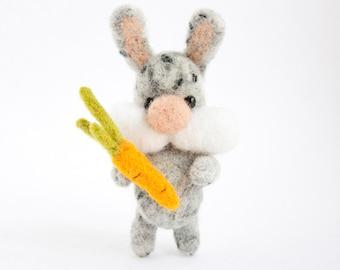 needle felted grey bunny