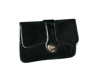 GUCCI Vintage Clutch Black Suede and Leather Emblem Handbag - AUTHENTIC -
