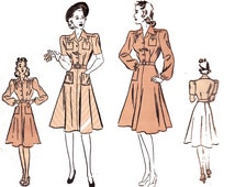 1940s Shirtwaist Dress Pattern Advance 2969 Vintage Sewing Pattern 40s Shirtdress Bust 34 inches Sew For Victory War Era Fashion
