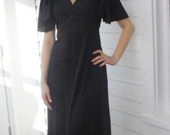 70s Black Dress Maxi Long Vintage 1970s S XS