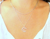 Moon Outline Sterling Silver Charm Necklace