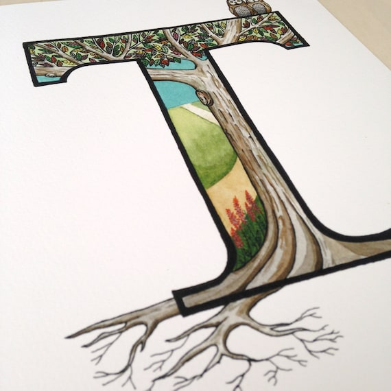 Items similar to the letter t tree with roots for Art sites like etsy
