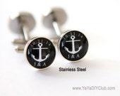 anchor wedding favor, anchor wedding gift, Anchor cufflink, Anchor Cuff links, nautical wedding favor, nautical wedding gift CUSTOM COLOR