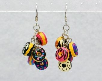 Silver Doughnut Cluster Earrings - Silver Doughnut Earrings, Silver Donut Earrings, Food Earrings, Breakfast Earrings, Ceramic Doughnuts
