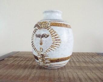 Vintage Pottery Craft Sun Face Vase