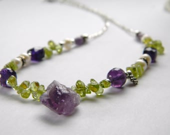 Mulit gemstone necklace Peridot. Amethyst Crystal point Sterling Silver Organic Fresh Boutique Made in Maine Christmas gift for her FW Pearl