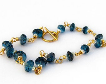 18k Gold London Blue Topaz Bracelet, 18k Gold Blue Topaz Bracelet