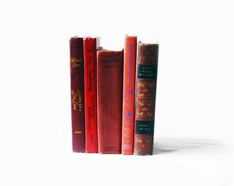 Vintage Books   Red   Set of Five