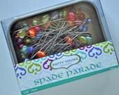 Spade Parade, designer quilting and sewing pins