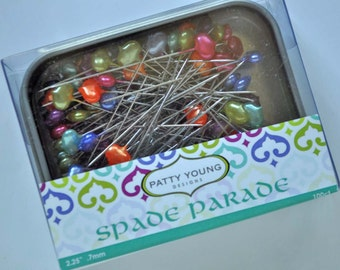 Spade Parade, designer quilting and sewing pins