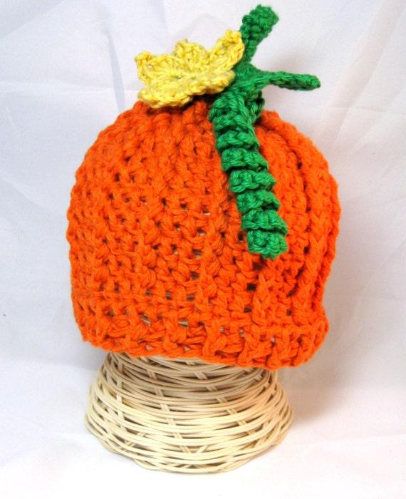 Crochet Baby Pumpkin hat crochet beanie with detachable pumpkin flower newborn baby toddler