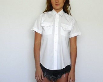 70s Starched White Button Up Aviator Prep Shirt xs s