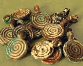Closeout 2 Shipwreck  Bronze Spiral Charms, Accent Beads, Pendants - Primitive, Tribal, Steampunk Style - 2SCGP