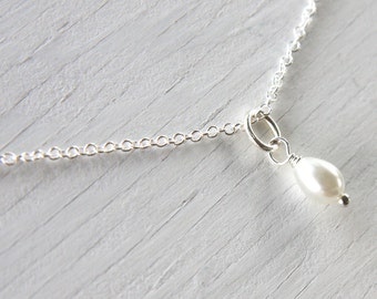 Summer Party Single Pearl Drop Necklace White Pearl Necklace Fine Sterling Silver Chain Bridesmaid gift for Flower Girl necklace for Bride