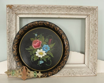 Antique ToleWare Tray with Flowers Tole Ware  SALE - was 48.00