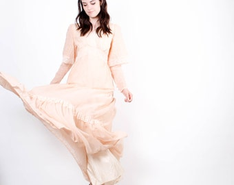 Peach Gunne Sax Wedding Dress  - 70s Peach Bohemian Wedding Dress  - The Capulet Dress - 5311