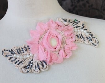 Cute embroidered   and beaded chiffon  flower  applique   pink color