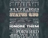 Here's to the Crazy Ones - Word Art Print Poster - 18x24 Apple Inc. quote Steve Jobs - ready to frame