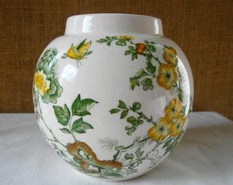 VINTAGE MASONS IRONSTONE Scenic Transferware England Masons Ironstone Manchu Transferware English Ironstone Vase Jar Jardine