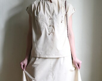 Sale - Boxy cotton summer suit - Neutral beige 80ies Two piece skirt Blouse set, size L