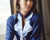 Salma Style Navy Tunic with White Embroidery-perfect for summer resort, birthday gifts, winter dresses, resortwear, casualwear, bohemian