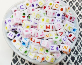 100x 6mm Candy Coloured Alphabet Cube Resin beads