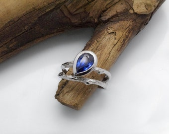 Blue Sapphire engagement ring / pear gemstone Twig Engagement Ring