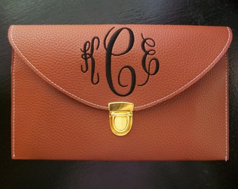 Monogrammed Envelope Clutch Purse, Faux Leather clutch, choose your color and monogram style.