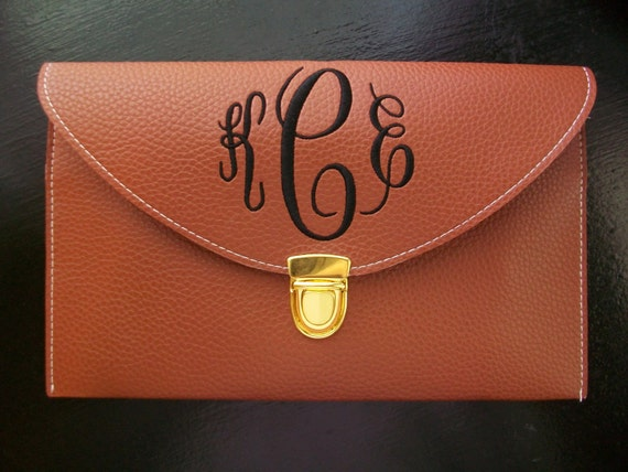 Monogrammed Envelope Clutch Purse Faux Leather clutch choose