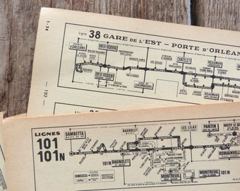 1974 PARIS TRANSPORT Lines MAPS - 8 Sheets x Old map from Paris Set - 16 Different pages of Original Paris vintage paper ephemera