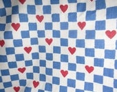 "Red Hearts Blue Checks Homespun Cotton Fabric Country Kitsch 46"" x 45 over 1 yard"