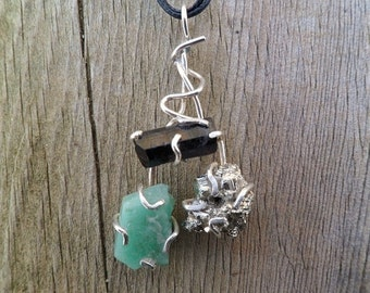 Rough Emerald, Black Tourmaline And Pyrite Necklace. Birthstone Necklace. Gemstone Pendant. Rough Stone Pendant. Mineral Pendant.