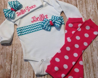 Baby Girl Coming Home Outfit Bodysuit Beanie Leg Warmers