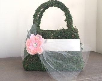 Flower Girl Basket, Moss Green Basket, Flower Girl Purse, Moss Flower Girl Basket, Outdoor Wedding, Garden Wedding, Wedding Basket, Purse