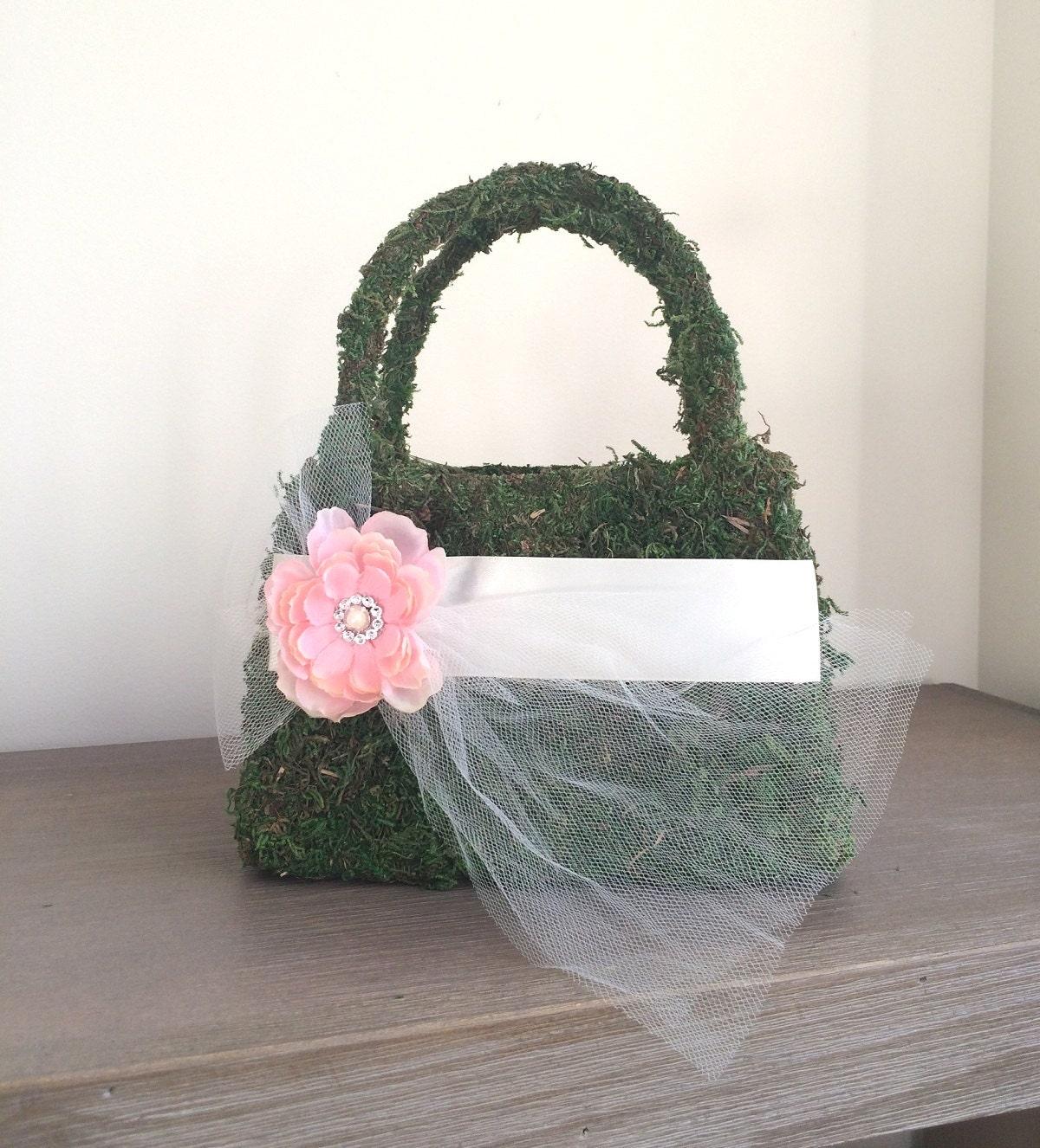 Flower Girl Baskets Green : Flower girl basket moss green by luckyyouluckyme