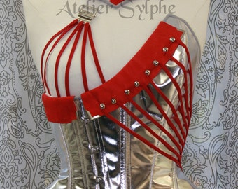 Handmade overbust fashion Sylphe corset with silver leather and red details with matching collar