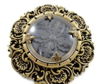 Victorian Renaissance Style Brooch Pin Gutta Percha Style Dr Brassy Style -by Dr Brassy Steampunk