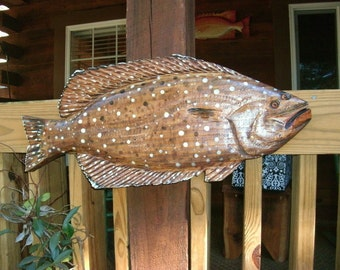 "Halibut 27"" chainsaw wooden fish taxidermy carving realistic sealed indoor outdoor wall art beach cottage one of a kind Todd Lynd sculpture"