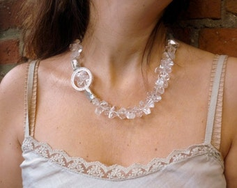 Clear Crystal Stones Necklace, Statement Crystal Necklace, Chunky Crystal Stones, Cocktail Transparent White Necklace,  bridal Necklace.