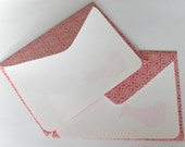 SALE - Set of 2 Stationery - Spring Bird Pink Flowers with Small Flowers - SALE