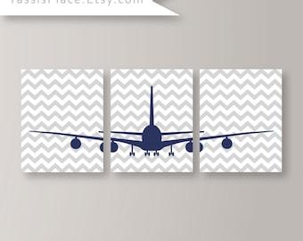 Baby Boy Nursery Decor- Airplane Nursery Art- Boy Bedroom Art - Aviation Decor- Gray Navy Blue Bedroom Art Prints- Chevron Airplane Print