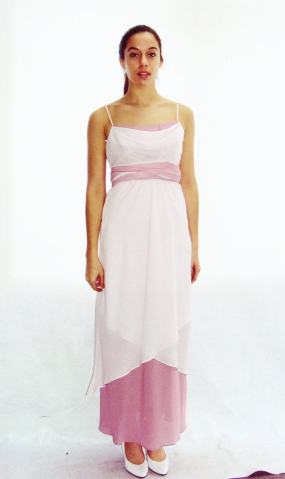 vintage 70s 80s Slip Dress Maxi length / pink dress /  Cami / Cocktail / Pale Pink / s,m