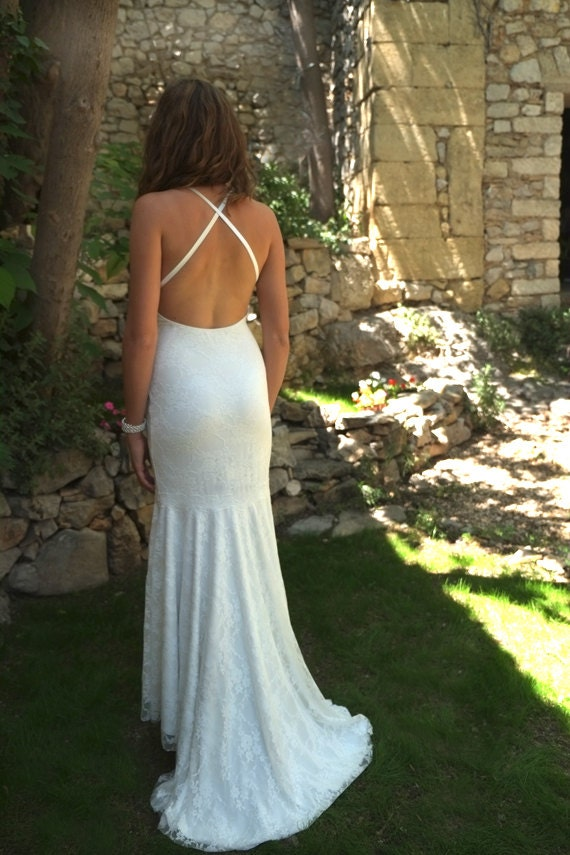 Items similar to beach backless lace wedding dress low for Beach wedding dress low back