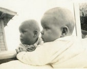 "Vintage Photo ""Reflection"" Snapshot Photo Old Antique Photo Black & White Photography Found Photo Paper Ephemera Vernacular Mirror - 197"