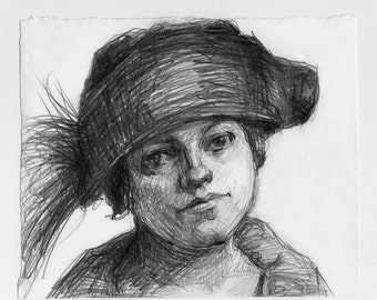 pencil drawing OOAK - Woman with Velvet Hat and Feathers - flapper, 1920s, roaring 20s, great gatsby, bob, 1920 hat, black and white art